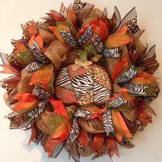 Fall Deco Mesh Wreath - Fall Wreath, Autumn Mesh Wreath - Halloween Wreath - Pumpkin Wreath