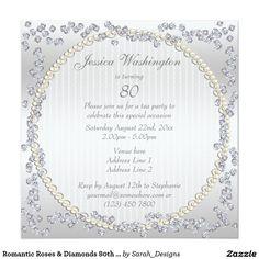 Romantic Roses & Diamonds 80th Birthday Party 5.25x5.25 Square Paper Invitation Card