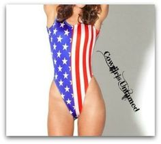 AMERICAN COWGIRL SWIMSUIT Red White N Blue Stripes and Stars Flag 1 Piece Swimsuit
