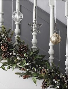 Looking for a festive way to decorate your staircase this Christmas? Weve got 15 awesome Christmas staircase decor ideas for you! Christmas Hallway, Christmas Stairs Decorations, Christmas Home, Christmas Wreaths, Merry Christmas, Christmas Crafts, Christmas Staircase Garland, Banister Garland, White Christmas Garland