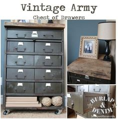 I love her creativity (the blogger of Burlap and Denim) found this metal chest and drawers, cleaned it up and added casters...so amazing looking