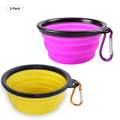 Size:S      |  Color:Purple and Yellow          	          	 	 		 			YISSCEN portable travel pet bowl for your dogs / cats when out and about, collapsible with its silicone material for ease of storage during transport, and also with a carabiner for this to secure onto your belt, rucksack or pet lead, this Collapsible bowls can be used for both food and water, invaluable for all you animal lov...** More info could be found at the image url. (This is an affiliate link) #dogfeeding Dog Training Techniques, Dog Training Videos, Beaded Dog Collar, Collar Choker, Big Dog House, Dog Training Bells, Collapsible Dog Bowl, Dog Grooming Shop, Military Dogs