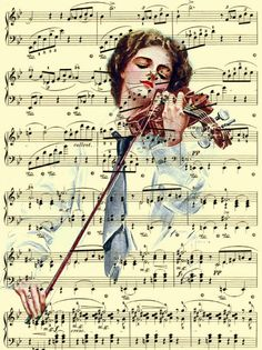 Song of the Soul Music Art, Harrison Fisher Illustration on Antique Chopin Music Page, Woman Playing Violin Mixed Media Art