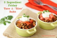 """Taco and """"Rice"""" Bake...only 5 ingredients!  #grainfree #paleo #lowcarb"""