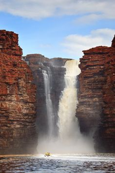 Waterfall in The Kimberley desert wilderness, NW Australia Beautiful Waterfalls, Beautiful Landscapes, Australia Travel, Western Australia, Cairns Australia, Melbourne Australia, South Australia, Places To Travel, Places To See