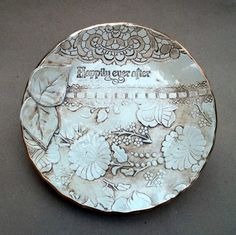 Sepia Ceramic Lace Damask Bowl Happily Ever After by dgordon, $48.00