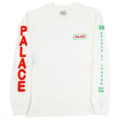 Palace Caveman L/S T Shirt in White - Sleeves