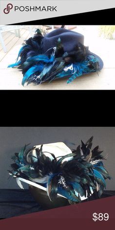 Carolina Panthers Feather Team Hat Price is FIRM!  Custom hand made Feather Cowboy Hats.  Choice of Black Felt or White Straw hats.  Let me know what size you need.  All NFL team colors available.  Show your team spirit! Jenette's Frou Frou Hats Accessories Hats