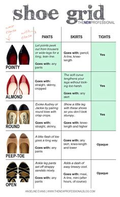 Hello, Gorgeous!: 5 basic shoes & how to wear them. It's from The New Professional