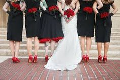 Black and red bridesmaids