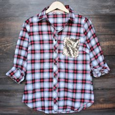 button up plaid shirt with dazzling gold sequins – shop hearts