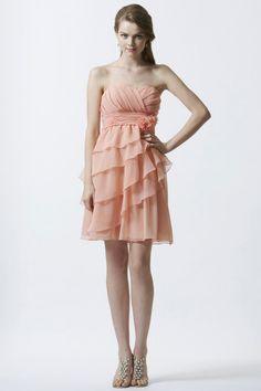 Strapless Short Chiffon Tiered Sheath Column Coral Bridesmaid/Wedding Guest Dress