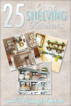 25 Open Shelving Kitchens by lilian Kitchen Shelf Design, Kitchen Shelves, Kitchen Decor, Kitchen Ideas, Kitchen Inspiration, Beautiful Kitchens, Cool Kitchens, Cottage Kitchens, Open Kitchen