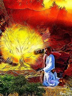 Moses and the Burning Bush by Bryan Evans @ https://www.etsy.com/listing/190185392/moses-and-the-burning-bush?ref=shop_home_active_8