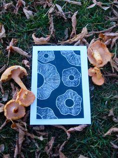 Chanterelle mushroom inspired print.