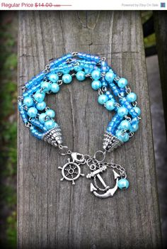 SALE: B.A.S.I.C.  -  Hand beaded Blue Pearl Anchor Bracelet by OneOfAKindSass, $10.50