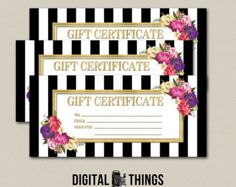 printable gift certificate  gold glitter black chevron