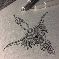 High back tattoo – nape Mandala Tattoo – Fashion Tattoos Kunst Tattoos, Tattoo Drawings, Tattoo Sketches, Weird Drawings, New Tattoos, Body Art Tattoos, Tatoos, Small Tattoos, Underboob Tattoo