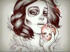 Skelleton Skull face Snow White