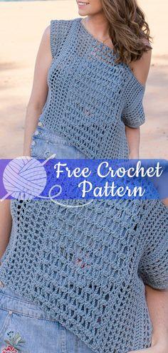 Sea Spray Bohemian Top [CROCHET FREE PATTERNS] Crochet Tunic, Crochet Tops, Diy Crochet, Crochet Clothes, Crochet Bikini, Knitting Patterns, Crochet Patterns, Sea Spray, Crochet Woman