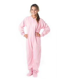 Take a look at this Baby Pink Footie Pajamas - Adult on zulily today!