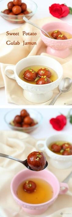 An interesting twist on the classic South Indian dessert. Gulab Jamuns made with sweet potatoes. Even more delicious and melts in your mouth.