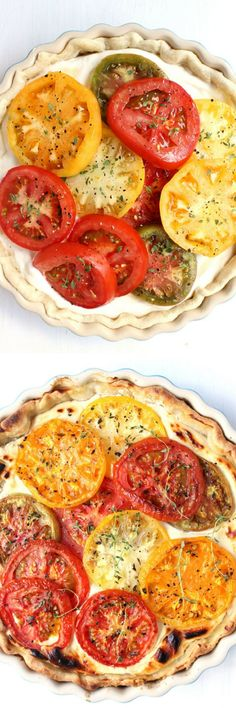 Savory Goat Cheese Tomato Pie – Wry Toast Deliciously creamy & bursting with flavor, this Savory Goat Cheese Tomato Pie is an elegantly rustic treat that's perfect for summer and easy to bake! Veggie Dishes, Veggie Recipes, Vegetarian Recipes, Cooking Recipes, Healthy Recipes, Easy Brunch Recipes, Breakfast Recipes, Vegan Breakfast, Easy Recipes