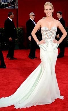 January Jones in an embroidered, glass beaded bustier by Atelier Versace