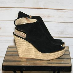 """Colin Stuart suede peep toe wedges. Beautiful shoe. Colin Stuart from Victoria's Secret. Women's size 8.5. Like new. Perfect condition. Worn once on vacation. Soft suede with size zipper. Gold accent around suede. Height measures 4 1/2"""". Colin Stuart Shoes Wedges"""