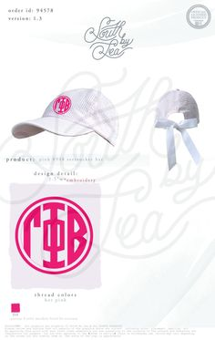 Gamma Phi Beta | G Phi | Gamma Phi Hat | Monogram Design | Sorority Monogram Hat | Bow Hat Design | Hat with Bow | Alpha Delta Pi | ADPi | Sorority Long Sleeve Tee | South by Sea | Sorority Shirts | Sorority Tanks | Greek Shirts