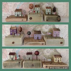 Miniature wooden houses Upcycled by Maria Popsicle Stick Houses, Box Houses, Mini Houses, Timber House, Mosaic Projects, Wooden Houses, Driftwood Art, Wooden Crafts, Little Houses