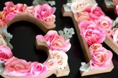 Create exactly what you want with these DIY Rustic Letters with Flowers. Rustic flower letters are perfect for a nursery, girls bedroom or craft room! Wood Letters Decorated, Rustic Letters, Flower Letters, Wooden Letters, Monogram Letters, Flower Names, Baby Shower Games For Large Groups, Wooden Initials, Wooden Flowers