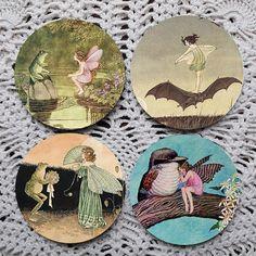 Fairy Tales  Vintage Fairies Mousepad Coaster Set by Polkadotdog