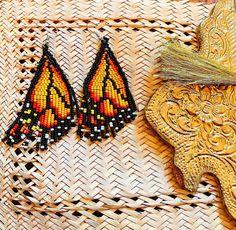 Monarch Butterfly earrings/ beaded earrings/ Wing earrings   Etsy Wing Earrings, Butterfly Earrings, Beaded Earrings, Etsy Earrings, Beaded Jewelry, Statement Earrings, Orange Butterfly, Monarch Butterfly, Butterfly Wings
