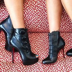 Christian Louboutin Ankle & Booties Open Toe Platform Plain Leather Elegant Style Luxury Handbags, Ankle Booties, Open Toe, Christian Louboutin, Platform, Booty, Elegant, Heels, Leather