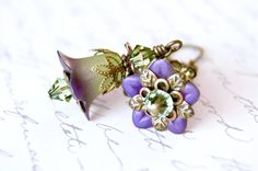 Green and Purple Fusion, Lucite Flower Earrings, Vintage Style Earrings via Etsy