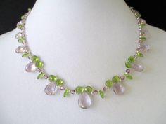 Pink Amethyst Peridot and Swarovski Crystal Necklace by mdeja, $295.00