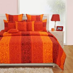 Swayam Signature Collection Bed Sheet Set Orange And Yellow - Swayam helps you give your bedroom a much needed makeover with this floral bed sheet set in yellow and orange. This is made of the finest cotton for comfort of the highest order. Orange Bed Sheets, Orange Bedding, Twin Sheets, Bed Sheet Sets, Linen Bedding, Bedding Sets, Bed Linen, Daybed Sets, Bed In A Bag