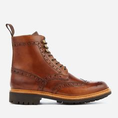 Grenson Men's Fred Hand Painted Leather Commando Sole Lace Up Boots Tan