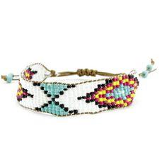 Fuschia and Turquoise Beaded Adjustable Bracelet