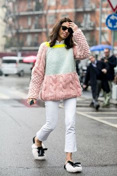 color blocked chunky cable sweater