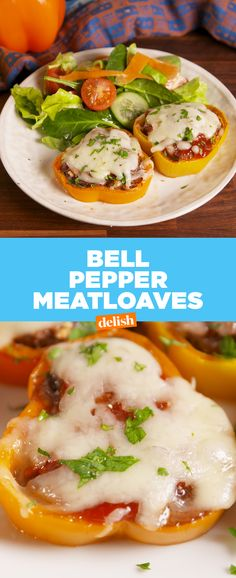This is going to be your new favorite way to use ground beef. Get the recipe at Delish.com. #recipes #easyrecipes #meatloaf #peppers #cheese #dinner #easydinner #groundbeef #dinnertime #comfortfood