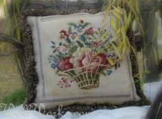 Basket of Flowers Salvaged Needlepoint