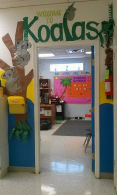 My classroom WELCOME Sign. I designed my classroom with Koalas that I drew and the text that I cut out from butcher/construction papers and have it laminated. =)