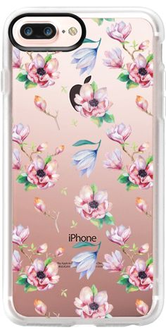 Casetify Protective iPhone 7 Plus Case and iPhone 7 Cases. Other Flower iPhone Covers - Elegant Pink Blue Magnolia Watercolor Floral by Pink Water | Casetify