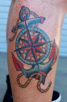 tattoo old school / traditional nautic ink - anchor with compass rose