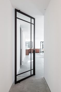 Create timeless masterpieces with our popular crittall style pivot doors, fixed partitions and sliding doors. Pivot Doors, Sliding Doors, Entry Doors, Front Doors, Door Design, House Design, Crittall, Futuristic Architecture, Steel Doors