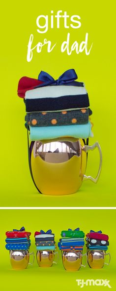 For your father's day gift ideas, think of something you know he needs, but add a creative and unexpected twist. Served straight up (or with some socks), these Moscow Mule mugs are perfect for the dad with a taste for classic cocktails. Top each mug with a stack of socks and secure them with a ribbon, or bundle them inside the mug, they'll help add a splash of color (and fun!) to his wardrobe.