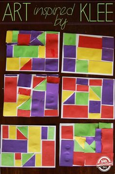We were inspired to create our project by the Castle and Sun work of Paul Klee. He fit a variety of shapes into a space to create a castle scene.  We took the same principles and gave the kids a sheet of paper.  They had to completely fill their page with the shapes.