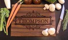 Cutting boards, ideal for wedding gifts, can be personalized with names, initials, and other designs